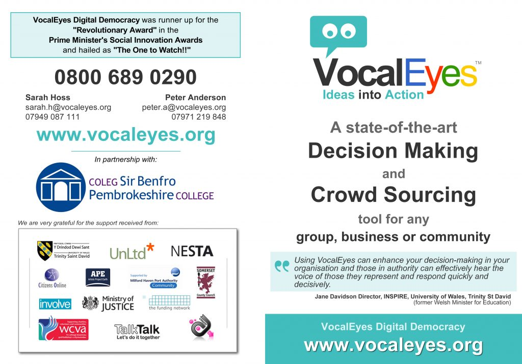 VocalEyes Digital Democracy flier - Nov 20th 2014